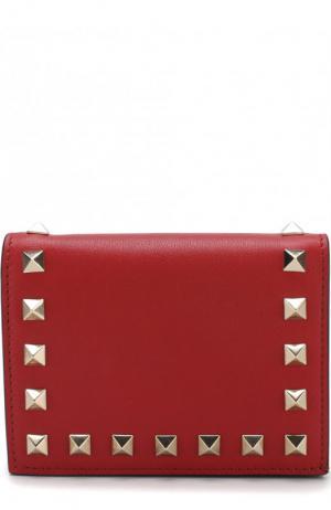 Кожаный кошелек Garavani Rockstud Valentino. Цвет: красный