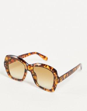 Солнцезащитные очки унисекс в квадратной оправе с черепаховым дизайном Translator-Коричневый цвет AJ Morgan