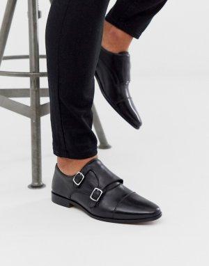 Черные кожаные монки WALK London