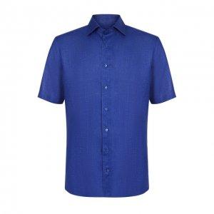 Льняная рубашка с короткими рукавами Zilli. Цвет: синий