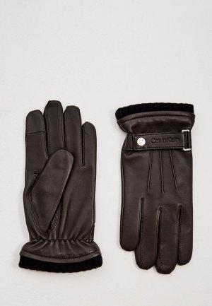 Перчатки Calvin Klein. Цвет: коричневый