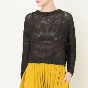 Пуловер с круглым вырезом POMANDERE. Цвет: черный