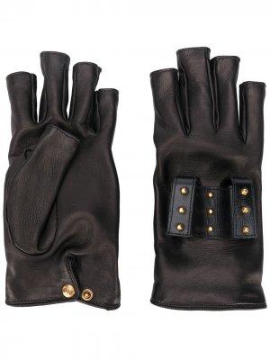 Перчатки-митенки с заклепками Gucci. Цвет: черный