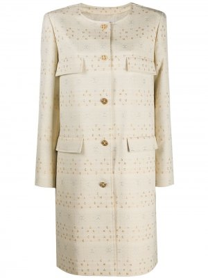 Пальто без воротника с вышитым логотипом Chanel Pre-Owned. Цвет: нейтральные цвета