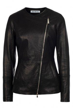 Кожаная черная куртка Dirk Bikkembergs. Цвет: черный