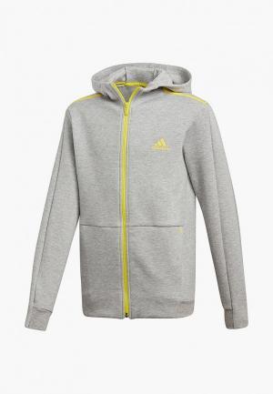 Толстовка adidas YB ID SPCR FZ. Цвет: серый