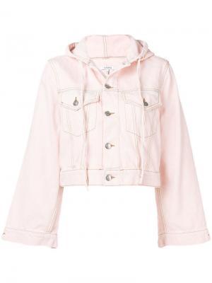 Джинсовая куртка с капюшоном Ganni. Цвет: розовый
