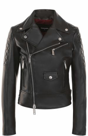 Приталенная кожаная куртка с косой молнией Dsquared2. Цвет: чёрный