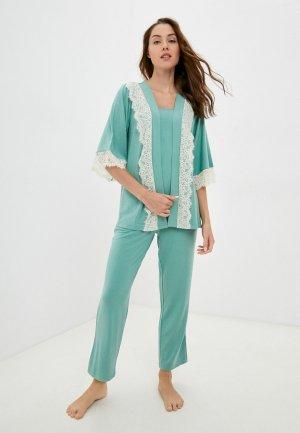 Халат и пижама Eva Cambru. Цвет: зеленый