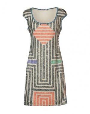 Короткое платье AGOGOA. Цвет: бежевый