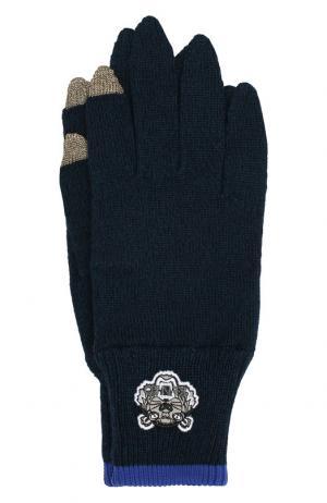 Шерстяные перчатки Kenzo. Цвет: темно-синий