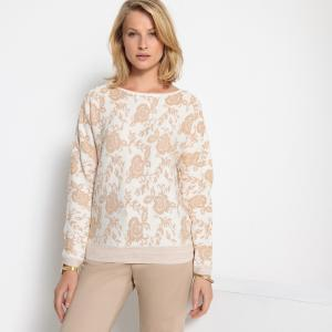Пуловер жаккардовый с круглым вырезом ANNE WEYBURN. Цвет: жаккардовый золотистый