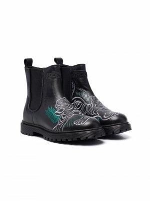 Ботинки с вышивкой Kenzo Kids. Цвет: черный