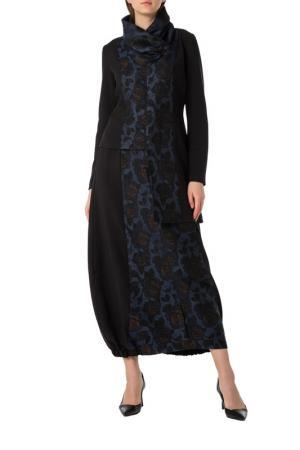 Костюм: блуза, юбка Adzhedo. Цвет: черный, синий, цветы