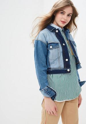 Куртка джинсовая Tommy Jeans TO052EWDQPH9. Цвет: голубой