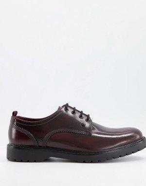 Блестящие бордовые туфли на шнуровке Cog-Красный Base London