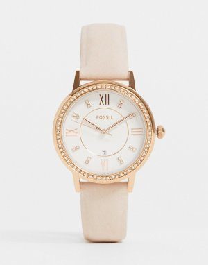 Розовые женские часы с кожаным ремешком -Розовый цвет Fossil