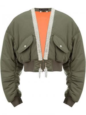 Укороченная куртка-бомбер Blindness. Цвет: зеленый