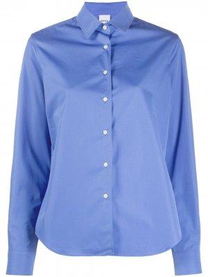 Приталенная рубашка с закругленным подолом Aspesi. Цвет: синий