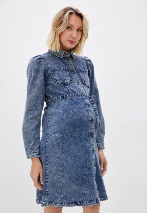 Платье джинсовое Mamalicious MLLEONA L/S DENIM ABK DRESS. Цвет: синий