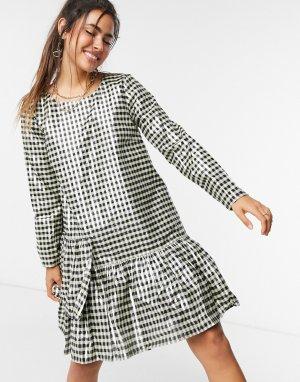 Платье мини в клетку с эффектом металлик -Многоцветный Just Female