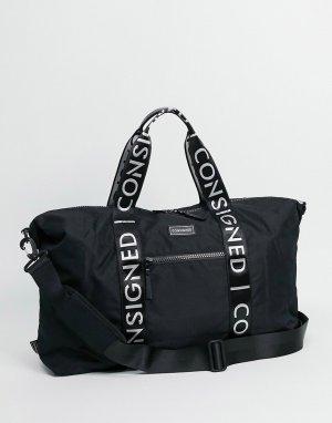 Спортивная сумка с лентой логотипом -Черный цвет Consigned