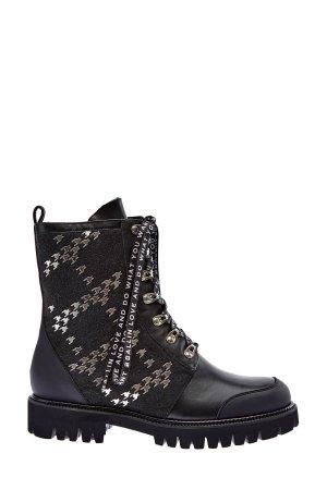 Кожаные ботинки со вставками из шерстяного драпа BALLIN. Цвет: черный