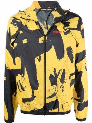 Куртка со съемными рукавами и принтом граффити Off-White. Цвет: черный