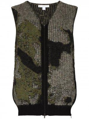 Вязаный жилет Camo с V-образным вырезом Y-3. Цвет: зеленый