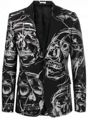 Однобортный пиджак с принтом Skull Alexander McQueen. Цвет: черный