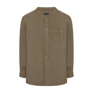 Льняная рубашка Il Gufo. Цвет: хаки