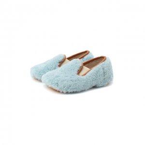 Домашние туфли из меха Gallucci. Цвет: синий