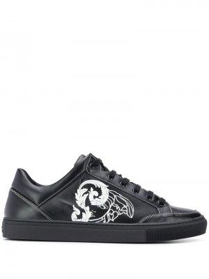 Кеды с логотипом Versace Collection. Цвет: черный