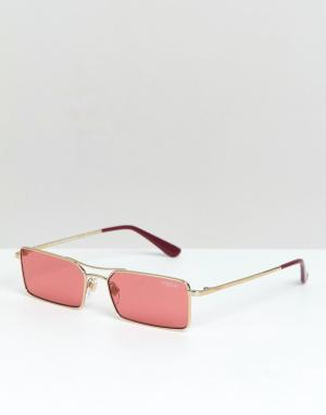 Солнцезащитные очки в узкой прямоугольной оправе Vogue x Gigi. Цвет: розовый