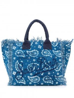 Пляжная сумка с принтом пейсли и бахромой Mc2 Saint Barth. Цвет: синий