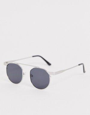 Серебристые солнцезащитные очки в круглой оправе -Серебряный Jeepers Peepers