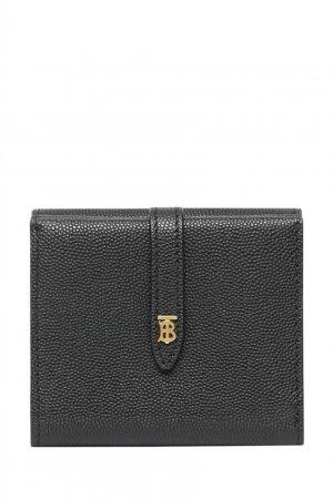 Черный бумажник из зернистой кожи Burberry. Цвет: черный