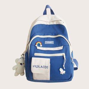 Двухцветная школьная сумка большой емкости SHEIN. Цвет: ярко-синий
