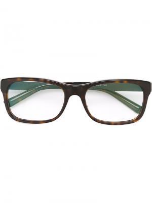 Оптические очки в прямоугольной оправе Bulgari. Цвет: коричневый