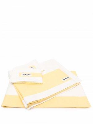 Двухцветное постельное белье Sunnei. Цвет: желтый