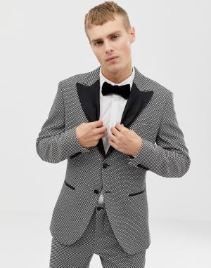 Серо-черный приталенный блейзер с бархатными лацканами Premium-Серый Jack & Jones