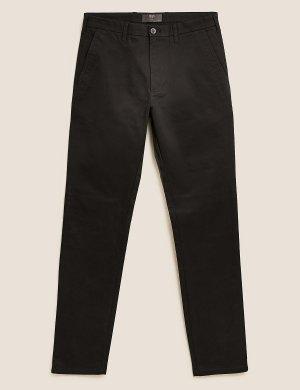 Брюки чинос узкого кроя M&S Collection. Цвет: черный микс