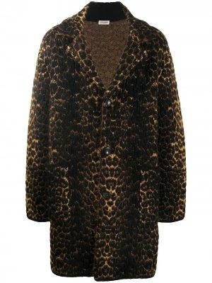 Однобортное пальто с леопардовым принтом Saint Laurent. Цвет: коричневый