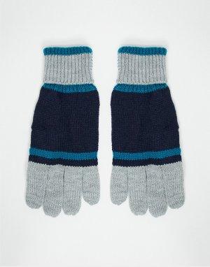 Перчатки в стиле колор-блок -Голубой Boardmans