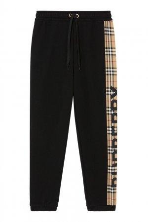 Черные спортивные брюки с логотипом Burberry. Цвет: черный