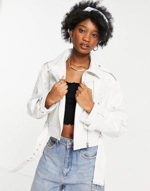 Белая кожаная короткая куртка -Белый ASOS DESIGN
