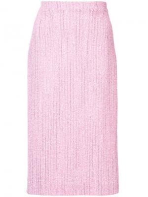 Твидовая облегающая юбка Alessandra Rich. Цвет: розовый