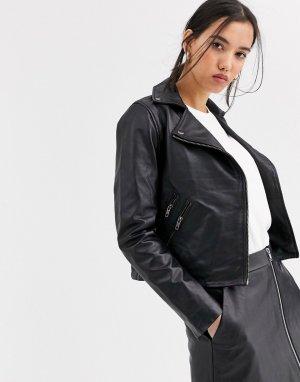 Кожаная байкерская куртка -Черный цвет Muubaa