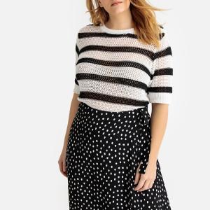 Пуловер в полоску с короткими рукавами из плотного трикотажа CASTALUNA. Цвет: черный/ белый