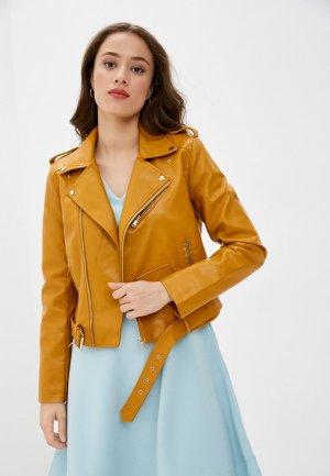 Куртка кожаная Euros Style. Цвет: коричневый